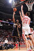 Donald Sloan of the Indiana Pacers shoots the ball against the Houston Rockets during the game on January 19 2015 at the Toyota Center in Houston...