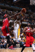 Donald Sloan of the Indiana Pacers takes a shot against the Washington Wizards in Game Five of the Eastern Conference Semifinals during the 2014 NBA...