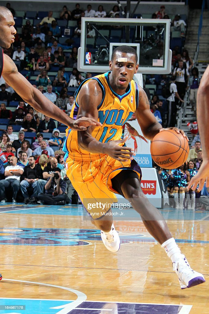 <a gi-track='captionPersonalityLinkClicked' href=/galleries/search?phrase=Donald+Sloan&family=editorial&specificpeople=4185817 ng-click='$event.stopPropagation()'>Donald Sloan</a> #12 of the New Orleans Hornets drives to the basket against the Miami Heat on March 29, 2013 at the New Orleans Arena in New Orleans, Louisiana.