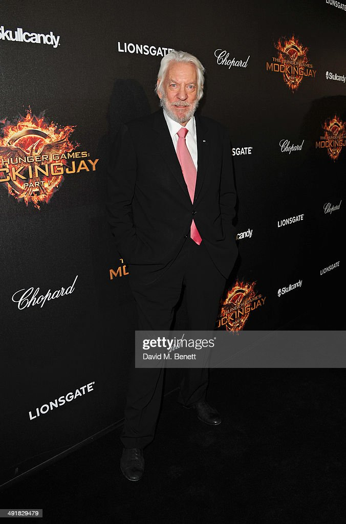 Donald Sutherland attends Lionsgate's 'The Hunger Games: Mockingjay Part 1' party at a private villa on May 17, 2014 in Cannes, France.