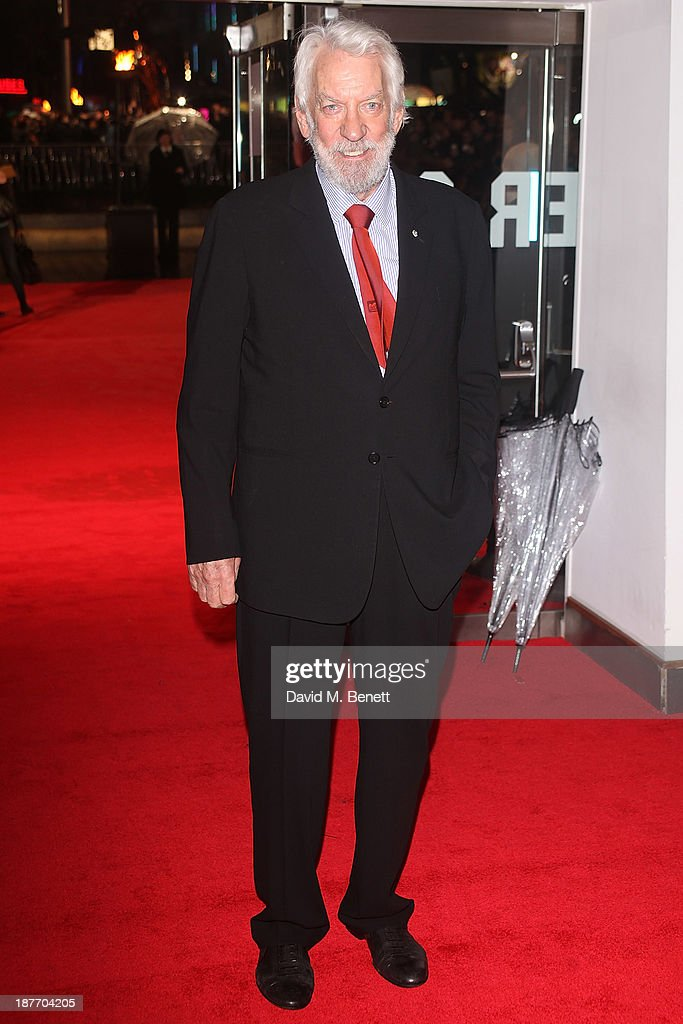 <a gi-track='captionPersonalityLinkClicked' href=/galleries/search?phrase=Donald+Sutherland&family=editorial&specificpeople=216582 ng-click='$event.stopPropagation()'>Donald Sutherland</a> attends the UK Premiere of 'The Hunger Games: Catching Fire' at Odeon Leicester Square on November 11, 2013 in London, England.