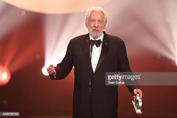 Donald Sutherland is seen on stage at the GQ Men Of The Year Award 2014 at Komische Oper on November 6 2014 in Berlin Germany