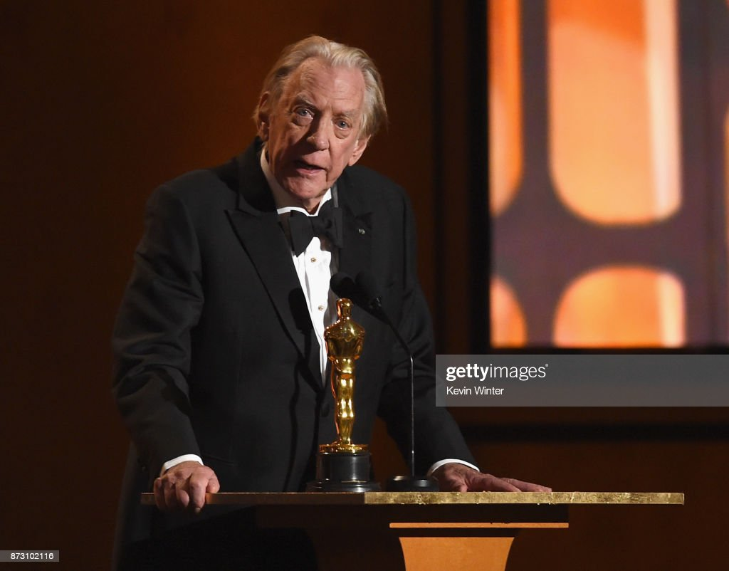 Donald Sutherland, winner of Honorary Award, speaks onstage at the Academy of Motion Picture Arts and Sciences' 9th Annual Governors Awards at The Ray Dolby Ballroom at Hollywood & Highland Center on November 11, 2017 in Hollywood, California.