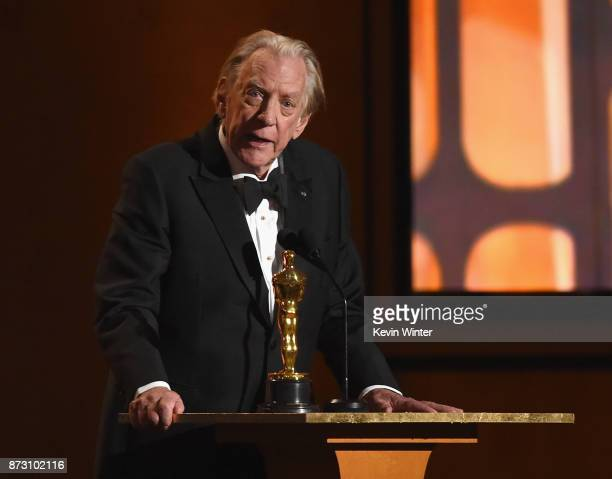 Donald Sutherland winner of Honorary Award speaks onstage at the Academy of Motion Picture Arts and Sciences' 9th Annual Governors Awards at The Ray...