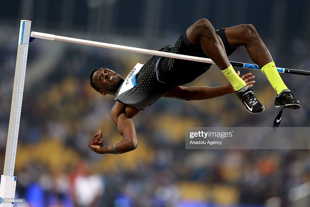 Donald Thomas of the Bahamas competes in the High Jump final at the Diamond League athletics competition at the Qatar Sports Club Stadium in Doha on May 6, 2016.