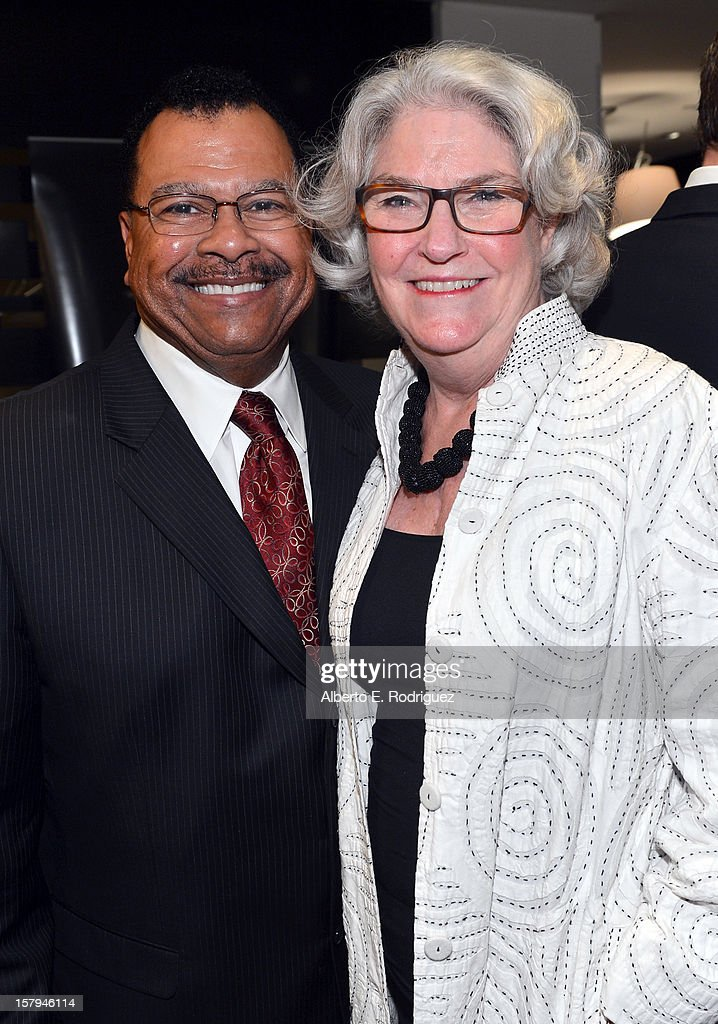 Donald Thoms, Vice President of General Audience Programming, PBS, and Executive Producer, Masterpiece, Rebecca Eaton attend a reception prior to The Hollywood Reporter screening of PBS Masterpiece's 'Downton Abbey' Season 3 on December 7, 2012 in West Hollywood, California.