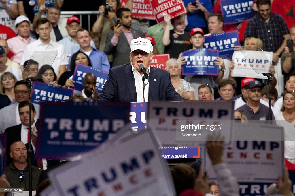 Donald Trump 2016 Republican presidential nominee speaks during a campaign event in Lansing Michigan US on Friday Aug 19 2016 Trump said in his first...
