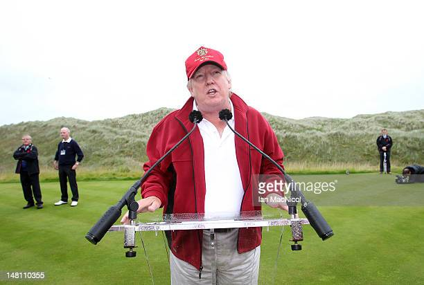 Donald Trump addresses his guests and the media before the opening of The Trump International Golf Links Course on July 10 2012 in Balmedie Scotland...