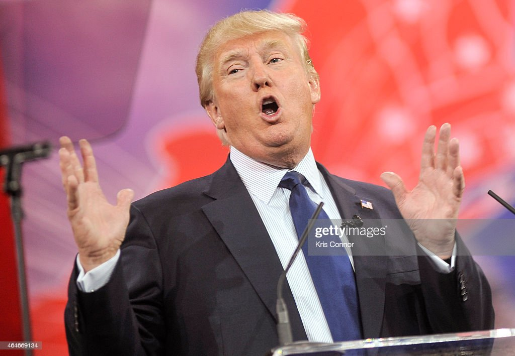 Donald Trump addresses the 42nd annual Conservative Political Action Conference at the Gaylord National Resort Hotel and Convention Center on...