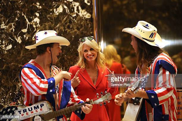 Donald Trump aide Kellyanne Conway speaks with performers at Trump Tower on November 28 2016 in New York City Presidentelect Donald Trump and his...