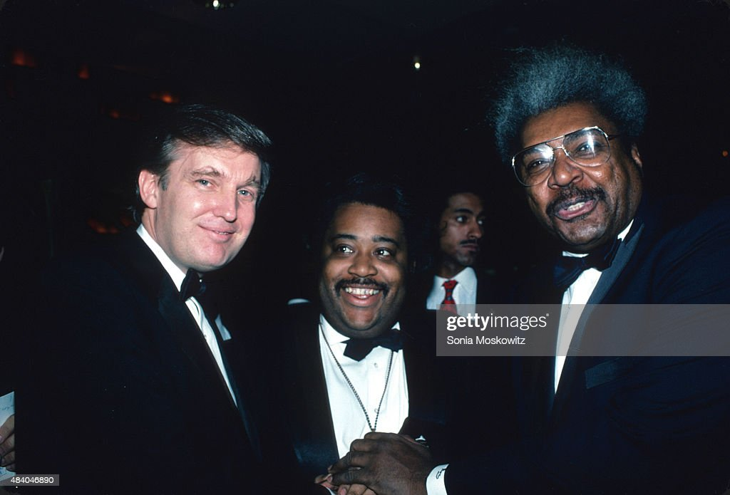 Donald Trump, Al Sharpton and Don King attend the 'Art of the Deal' book party at Trump Tower December 1987 in New York City.