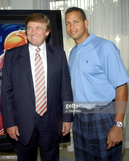 Donald Trump and Alex Rodriguez during Donald Trump and Melania Knauss join Alex Rodriguez at VIP Reception for Unveiling of Carlo Beninati's...