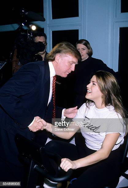 Donald Trump and Alicia Machado at Miss Universe works out event New York January 28 1996