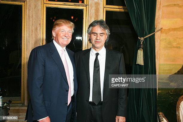 Donald Trump and Andrea Bocelli at the Andrea Bocelli concert at The MaraLago Club on February 28 2010 in Palm Beach Florida