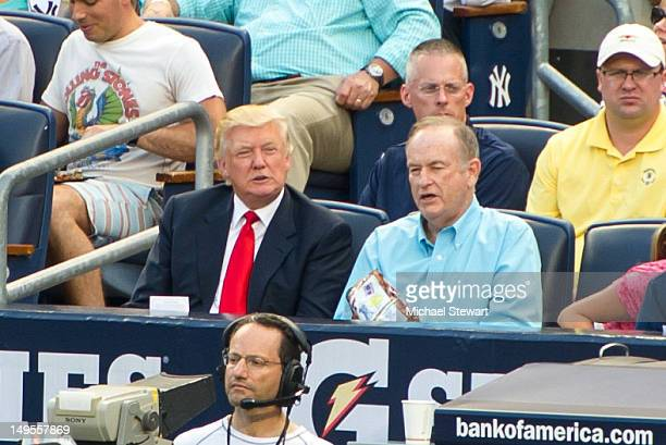 Donald Trump and Bill O'Reilly attend the Baltimore Orioles vs New York Yankees game at Yankee Stadium on July 30 2012 in New York City