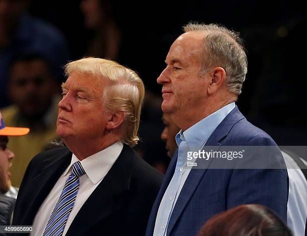 Donald Trump and Bill O'Reilly attend the game between the New York Knicks and the Cleveland Cavaliers at Madison Square Garden on November 30 2014...