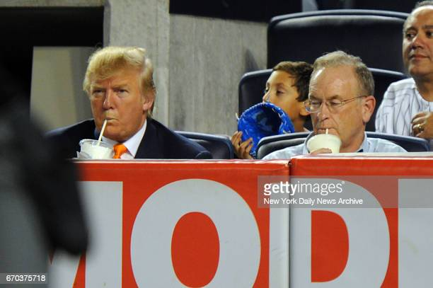 Donald Trump and Bill O'Reilly when the New York Yankees played Oakland August 30 2010 at Yankee Stadium in the Bronx NY