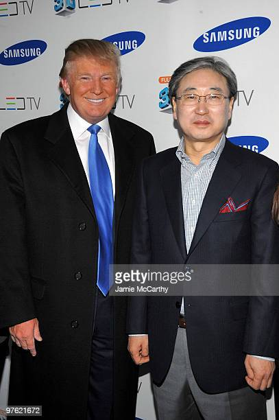Donald Trump and BK Yoon President of Visual Display Business Samsung Electronics attends the Samsung 3D LED TV launch party with THE BLACK EYED PEAS...