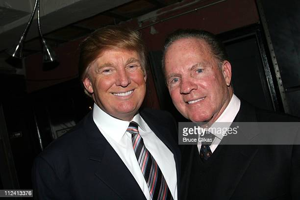 Donald Trump and Frank Gifford during Kathie Lee Gifford's New Musical 'Under The Bridge' Opening Night Afterparty at The Zipper Theater in New York...