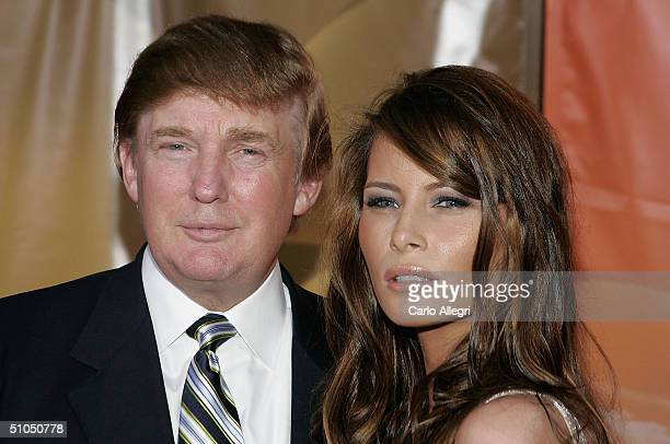 Donald Trump and girlfriend Melania Knauss arrive for the NBC TCA All Star Party at Univeral Studios July 11 2004 in Los Angeles California