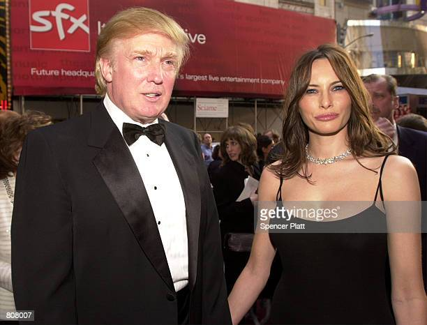 Donald Trump and girlfriend Melania Knauss attend the opening of the Broadway play '42nd Street' May 2 2001 in New York