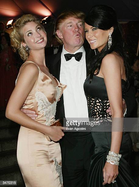 Donald Trump and his daughter Ivanka and girlfriend Melania Knauss attend the 'Dangerous Liaisons Fashion and Furniture in the 18th Century' Costume...