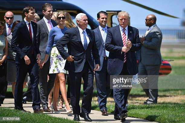 Donald Trump and his family attend a welcome arrival event with Governor Mike Pence and his family at the Great Lakes Science Centre on July 20 2016...