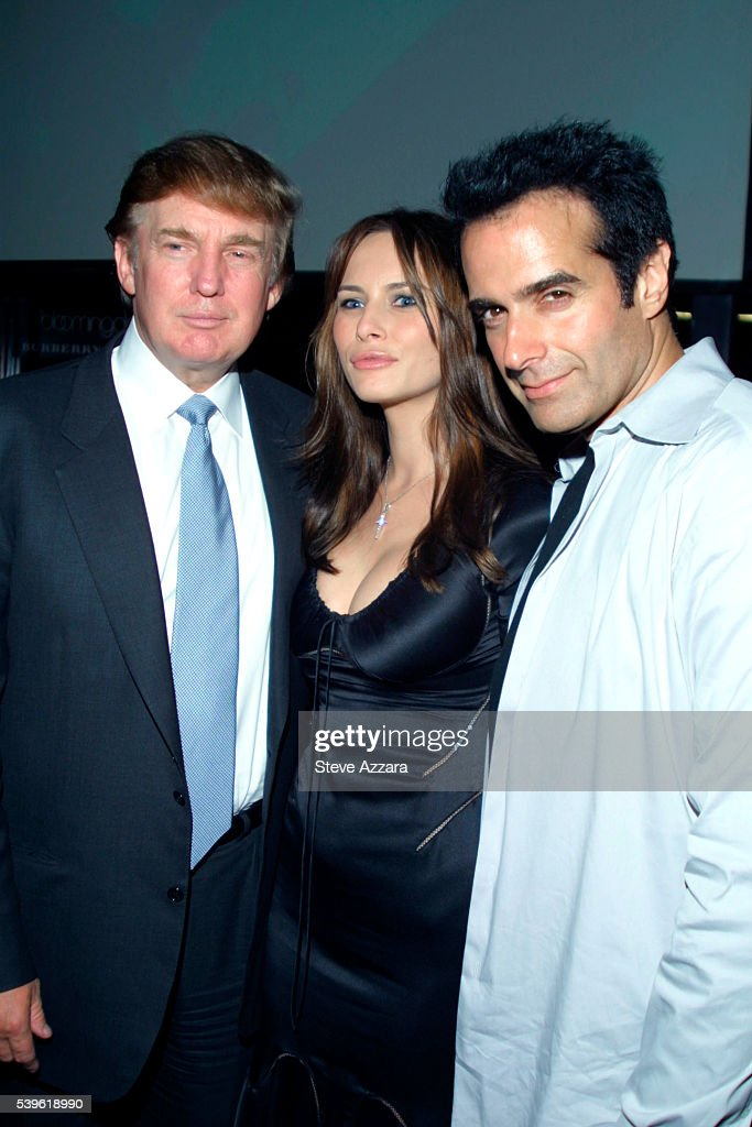 Donald Trump and his girlfriend, model Melania Knauss, join David Copperfield at the GQ Lounge to celebrate his birthday. --- Photo by Steve Azzara/Corbis Sygma