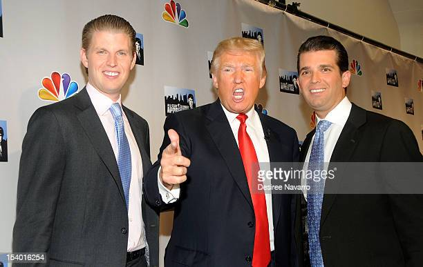 Donald Trump and his sons Eric F Trump and Donald Trump Jr attend the 'Celebrity Apprentice All Stars' Season 13 Press Conference at Jack Studios on...