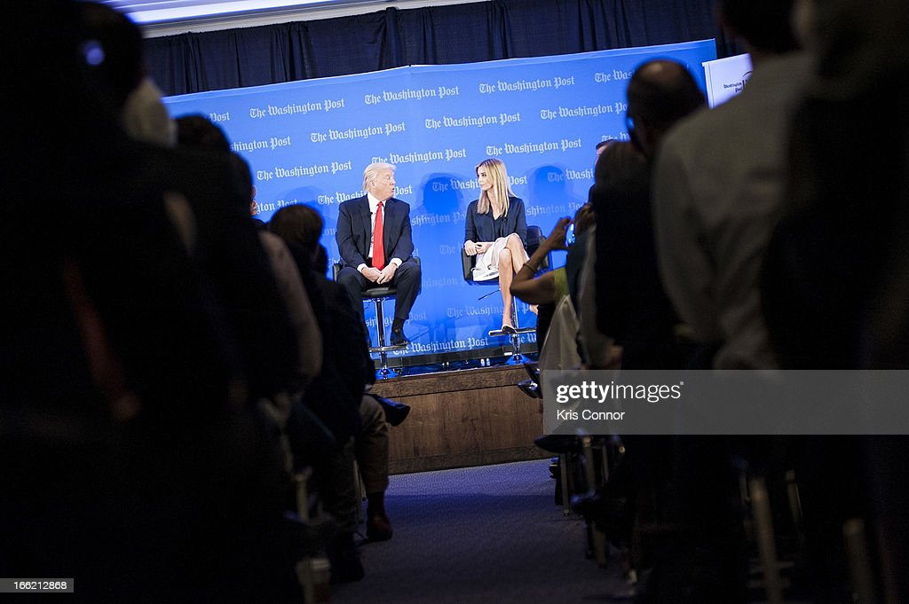 Donald Trump and <a gi-track='captionPersonalityLinkClicked' href=/galleries/search?phrase=Ivanka+Trump&family=editorial&specificpeople=159375 ng-click='$event.stopPropagation()'>Ivanka Trump</a> speak during a forum on 'Washington real estate -- including plans to renovate the landmark Old Post Office on Pennsylvania Avenue and views on property values and trends in Washington.' at Washington Post on April 10, 2013 in Washington, DC.