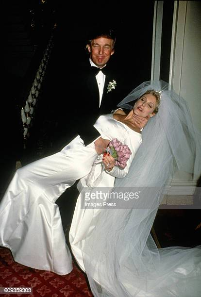 Donald Trump and Marla Maples Wedding at The Plaza Hotel circa 1993 in New York City Please note the placement of Donald's hand