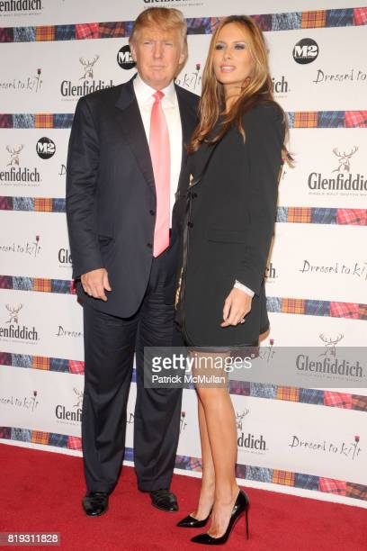 Donald Trump and Melania Trump attend GLENFIDDICH Presents DRESSED TO KILT at M2 Ultra Lounge on April 5 2010 in New York City