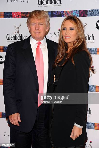 Donald Trump and Melania Trump attend the 8th annual 'Dressed To Kilt' Charity Fashion Show presented by Glenfiddich at M2 Ultra Lounge on April 5...