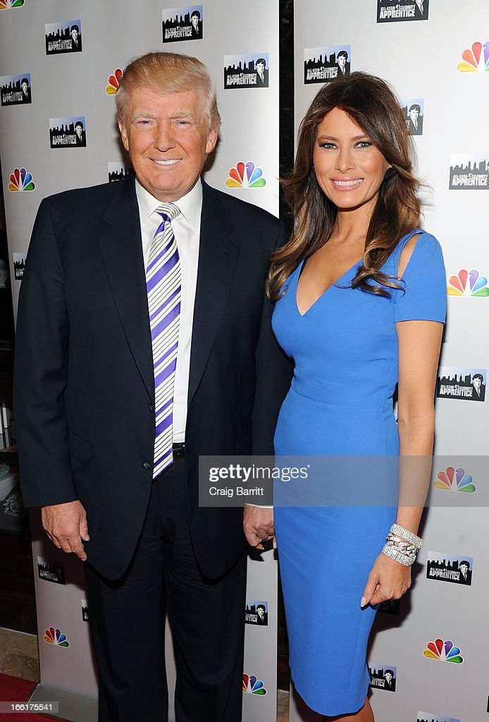 <a gi-track='captionPersonalityLinkClicked' href=/galleries/search?phrase=Donald+Trump+-+Born+1946&family=editorial&specificpeople=118600 ng-click='$event.stopPropagation()'>Donald Trump</a> and <a gi-track='captionPersonalityLinkClicked' href=/galleries/search?phrase=Melania+Trump&family=editorial&specificpeople=201777 ng-click='$event.stopPropagation()'>Melania Trump</a> attend the 'Celebrity Apprentice All-Star' event at Trump Tower on April 9, 2013 in New York City.