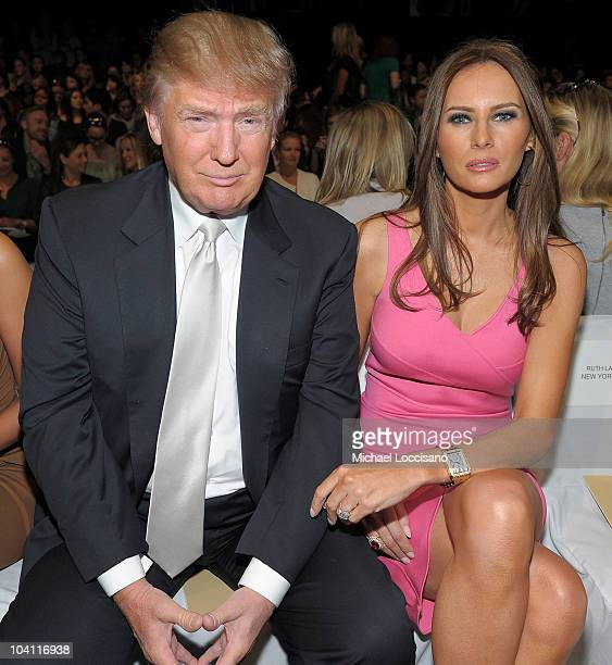 Donald Trump and Melania Trump attend the Michael Kors Spring 2011 fashion show during MercedesBenz Fashion Week at The Theater at Lincoln Center on...