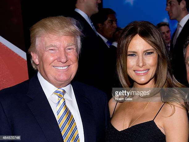 Donald Trump and Melania Trump attend the US Ryder Cup Captain's Picks News Conference on September 2 2014 in New York City