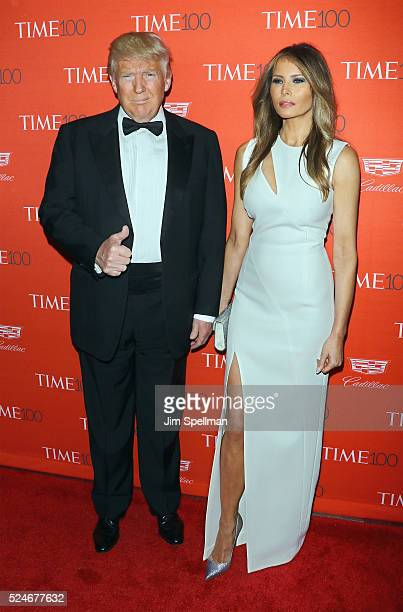 Donald Trump and Melania Trump attends the 2016 Time 100 Gala at Frederick P Rose Hall Jazz at Lincoln Center on April 26 2016 in New York City