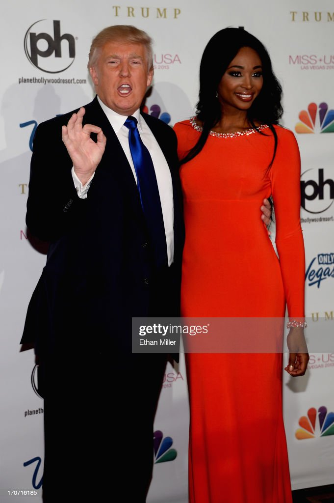 Donald Trump (L) and Miss USA 2012 <a gi-track='captionPersonalityLinkClicked' href=/galleries/search?phrase=Nana+Meriwether&family=editorial&specificpeople=4594046 ng-click='$event.stopPropagation()'>Nana Meriwether</a> (R) arrive at the 2013 Miss USA pageant at Planet Hollywood Resort & Casino on June 16, 2013 in Las Vegas, Nevada.