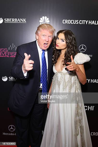 Donald Trump and Olivia Culpo attend the red carpet at Miss Universe Pageant Competition 2013 on November 9 2013 in Moscow Russia