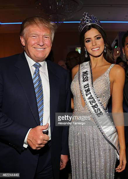 Donald Trump and Paulina Vega attend the Venue Magazine Official Miss Universe after party at Trump National Doral on January 25 2015 in Doral Florida