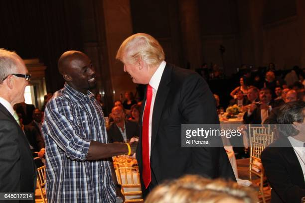 Donald Trump and Santonio Holmes attend the NY Jets kickoff luncheon party at Cipriani Wall Street on August 27 2008 in New York