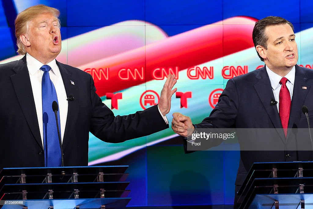 Donald Trump (L) and Sen. Ted Cruz (R-TX) talk over each other in the Republican presidential debate at the Moores School of Music at the University of Houston on February 25, 2016 in Houston, Texas. The debate is the last before the March 1 Super Tuesday primaries.