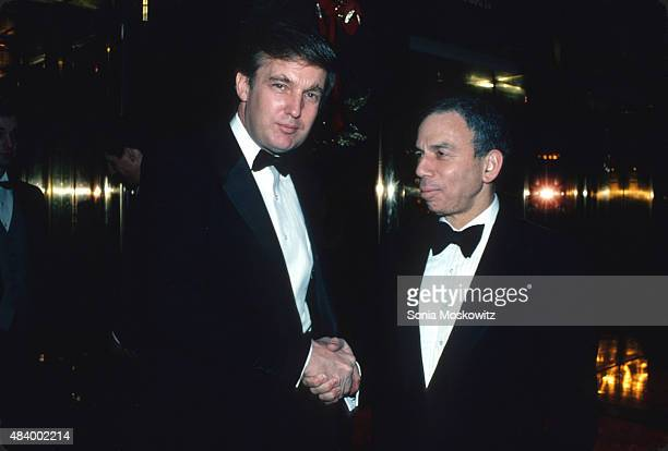 Donald Trump and SI Newhouse attend a Trump book party at Trump Tower December 1987 in New York City