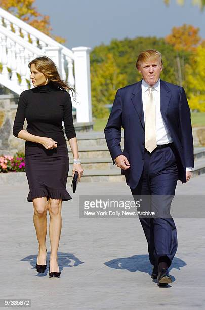 Donald Trump and wife Melania are at the Trump National Golf Course in Westchester where they cohosted a golf outing to raise money for people in...
