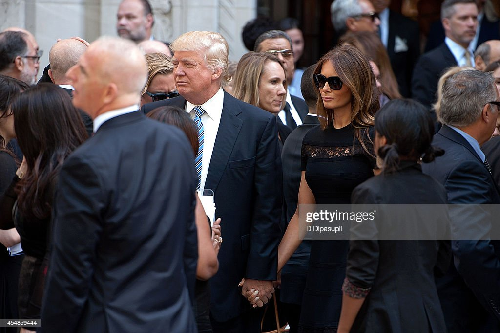 Donald Trump and wife Melania Trump attend the Joan Rivers memorial service at Temple EmanuEl on September 7 2014 in New York City Rivers passed away...