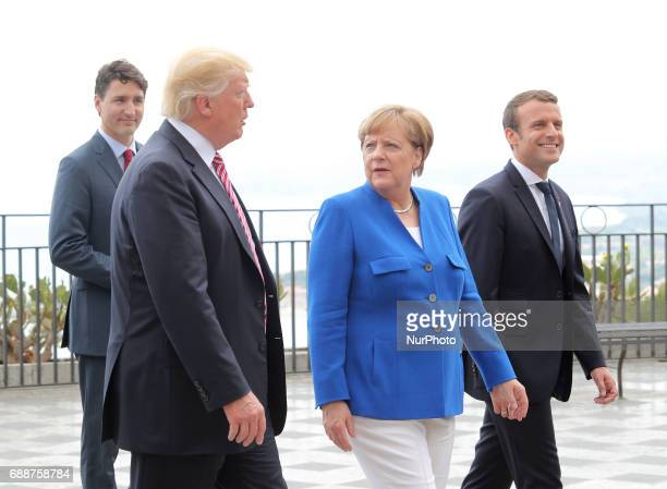 Donald Trump Angela Merkel Emmanuel Macron at the G7 Taormina summit on the island of Sicily on May 26 2017 in Taormina Italy Leaders of the G7 group...