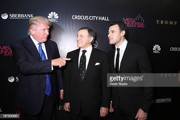 Donald Trump Aras Agalarov and Emin Agalarov attend the red carpet at Miss Universe Pageant Competition 2013 on November 9 2013 in Moscow Russia