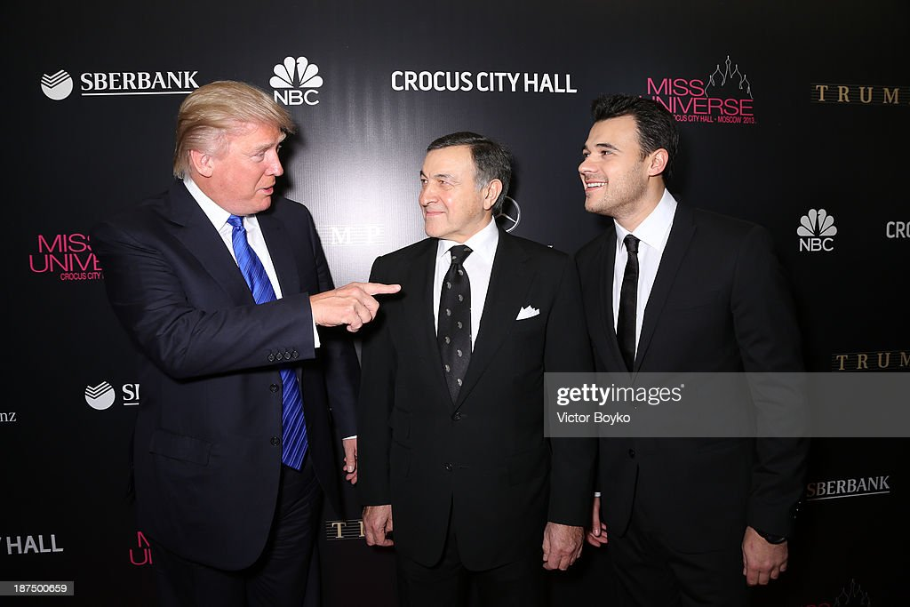 Donald Trump, Aras Agalarov and Emin Agalarov attend the red carpet at Miss Universe Pageant Competition 2013 on November 9, 2013 in Moscow, Russia.