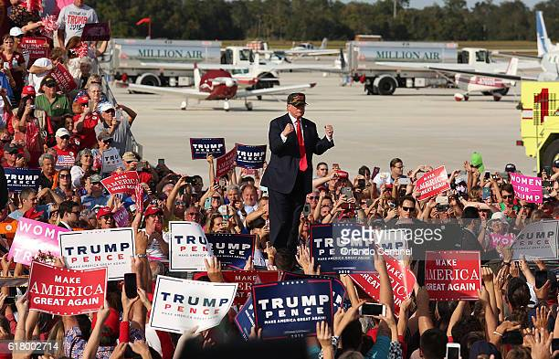 Donald Trump arrives at a Trump rally at Sanford Orlando International Airport on Oct 25 2016 in Sanford Fla