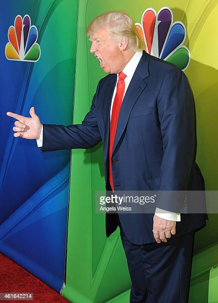Donald Trump arrives at NBCUniversal's 2015 Winter TCA Tour Day 2 at The Langham Huntington Hotel and Spa on January 16 2015 in Pasadena California